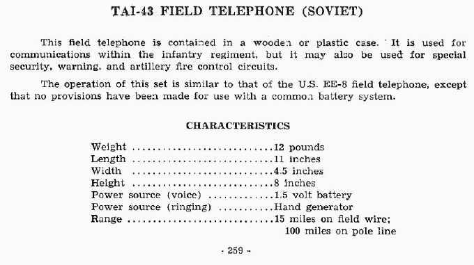 TAI-43 Field Telephone (Soviet)