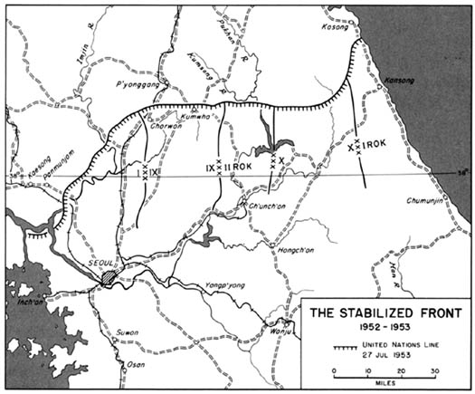Map 46: The Stabilized Front 1952-1953